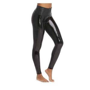 SPANX Faux black leather sequin leggings NWT